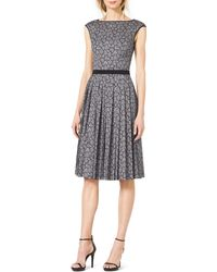 Michael Kors Solid-Trim Pleated Lace Dress - Lyst