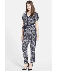 Adrianna Papell Print Drop Shoulder Jumpsuit - Lyst
