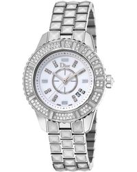 Dior Womens Christal White Dial White Tone Stainless Steel with Sapphires Christiandior Watch - Lyst