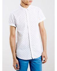 LAC - Monochrome Geometrc Print Short Sleeve Smart Shirt - Lyst