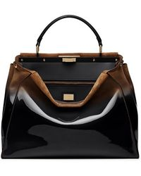 Fendi 'Large Peekaboo' Ombre Patent Leather & Suede Satchel - Lyst