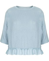 Topshop Woven Hem Knitted Crop Top  Dusty Blue - Lyst