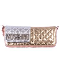 Moschino Laminated Leather Mini Shoulder Bag gold - Lyst