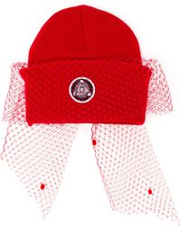 Silver Spoon Attire | Dotted Mesh Bow Beanie Hat | Lyst