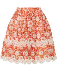 Ryan Lo Lace-Appliquéd Embroidered Organza Skirt - Lyst