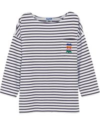 Steve J & Yoni P - Embroidered Striped Cotton-jersey Top - Lyst