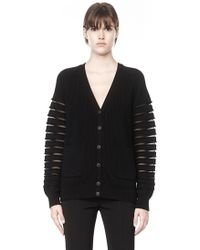 Alexander Wang Cardigan with Sheer Striped Sleeves - Lyst