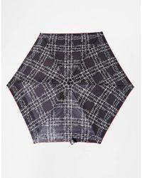 Lulu Guinness Tiny 2 Sayings Plaid Umbrella black - Lyst