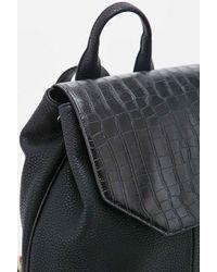 Deena & Ozzy - Croc Angular Backpack In Black - Lyst