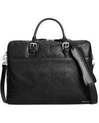 Cole Haan Pebbled Leather Zip-Top Attache Bag - Lyst
