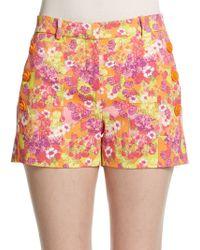 Versace Floral Geometric Print Shorts multicolor - Lyst