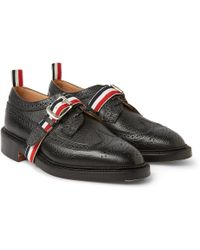 Thom Browne Strap-Front Pebbled Leather Brogues - Lyst