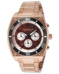 Caravelle NY - Men's Chronograph Rose-tone Steel Brown Dial - Lyst