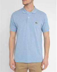 Lacoste   Mottled Sky-blue Logo Polo Shirt   Lyst