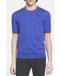 Topman Stripe Detail Knit T-Shirt - Lyst