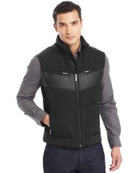 Kenneth Cole Reaction Cire Faux-leather Puffer Vest - Lyst