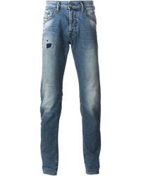 Diesel Blue Ripped Jeans - Lyst