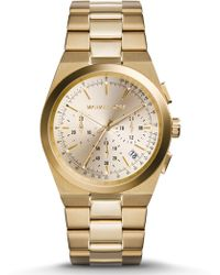 Michael Kors Channing Goldtone Stainless Steel Chronograph Bracelet Watch - Lyst