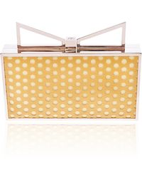 Sara Battaglia Yellow Perforated Lady Me Clutch - Lyst