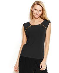 Calvin Klein Cap-Sleeve Zip-Detail Top black - Lyst
