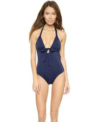 Eberjey So Solid Gabrielle One Piece Swimsuit - Midnight - Lyst