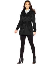 Steve Madden Hooded Belted Trench Coat - Lyst