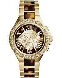 Michael Kors Midsize Goldentortoise Stainless Steel Camille Chronograph Glitz Watch - Lyst
