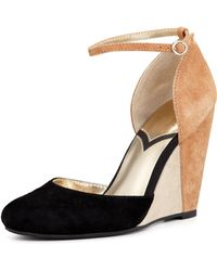 Seychelles Fight Fire with Fire Colorblock Suede Wedge Black - Lyst
