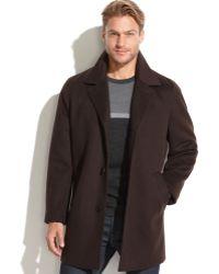Calvin Klein Brown Wool-cashmere-blend Overcoat - Lyst