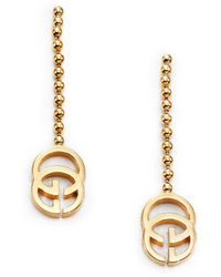 Gucci Running G 18k Yellow Gold Drop Earrings - Lyst