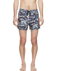 Moncler Blue And Grey Camo Print Swim Shorts - Lyst