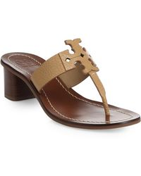 Tory Burch Moore Leather Thong Sandals brown - Lyst