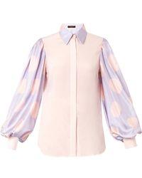 Giles Polka-Dot Silk Shirt blue - Lyst