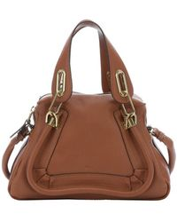 Chloé Classic Tobacco Leather Mini 'Paraty' Convertible Top Handle Bag - Lyst
