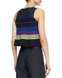 Risto - Shantung/knit Striped Combo Top - Lyst