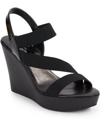 Charles by Charles David Patty Faux Leather & Elastic Wedge Sandals black - Lyst