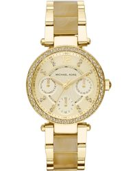 Michael Kors Women'S Chronograph Mini Parker Horn Acetate And Gold-Tone Stainless Steel Bracelet Watch 33Mm Mk5842 - Lyst