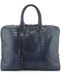 Santiago Gonzalez - Crocodile Compartment Skinny Briefcase - Lyst