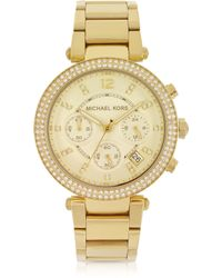 Michael Kors Golden Stainless Steel Parker Chronograph Glitz Women'S Watch - Lyst