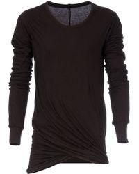 Rick Owens Black Draped T-Shirt - Lyst