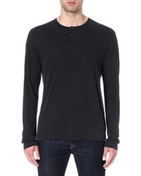 James Perse Longsleeved Henley Top Carbon - Lyst