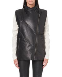 Helmut Lang Padded Leather Gilet - Lyst