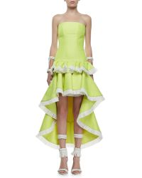 Alexis Nice Strapless Highlow Dress Lime Medium - Lyst
