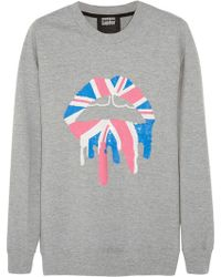 Markus Lupfer Union Jack Drip Lip Sequin-Embellished Cotton-Terry Sweatshirt gray - Lyst