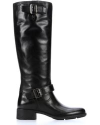 Prada Sport Nero Leather Buckle Detail Riding Boots - Lyst