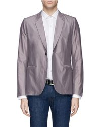 Paul Smith Gray Cotton-Silk Blazer - Lyst
