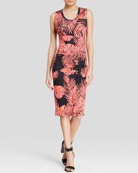 Nicole Miller Dress - Dakota Palm Print Pleated Matte Jersey - Lyst