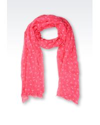 Armani Jeans Flock Print Scarf with All Over Logo - Lyst