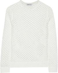 T By Alexander Wang White Open-knit Sweater - Lyst