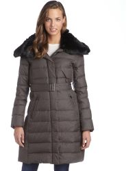 London Fog Iron Quilted Faux Fur Trimmed Belted Down Three-Quarter Coat - Lyst